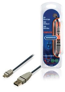USB 2.0 Kabel USB A Male - Micro-B Male Rond 1.00 m